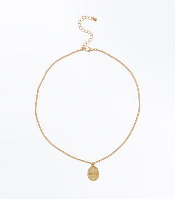 Gold Oval Coin Pendant Necklace