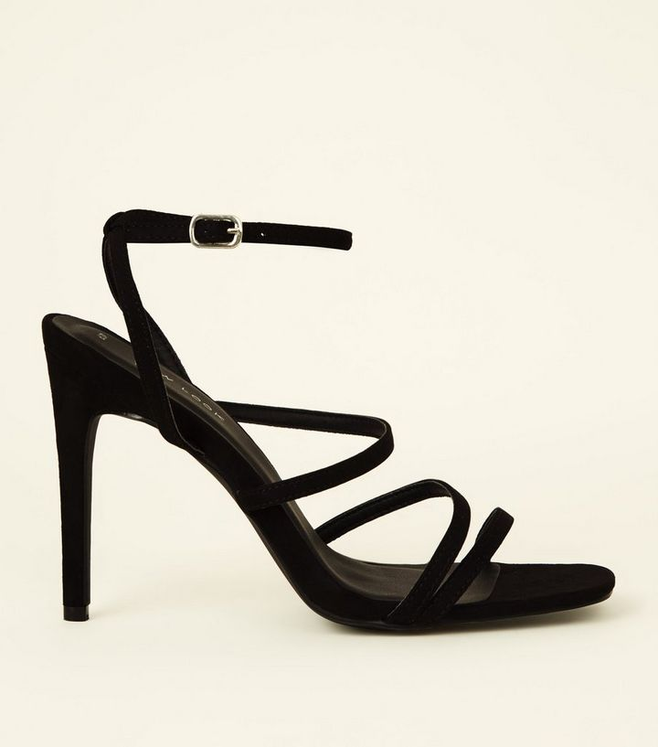 8637665a0cc Black Suedette Strappy Square Toe Stiletto Heels