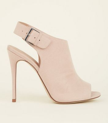 Nude Suedette Buckle Ankle Strap Peep Stiletto Heels