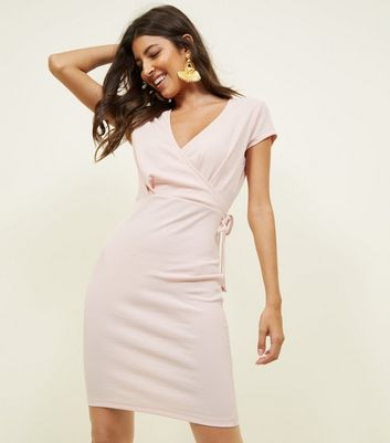 Pale Pink Ribbed Wrap Front Bodycon Dress