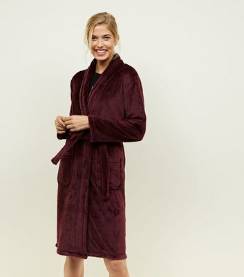 Burgundy Fluffy Longline Dressing Gown
