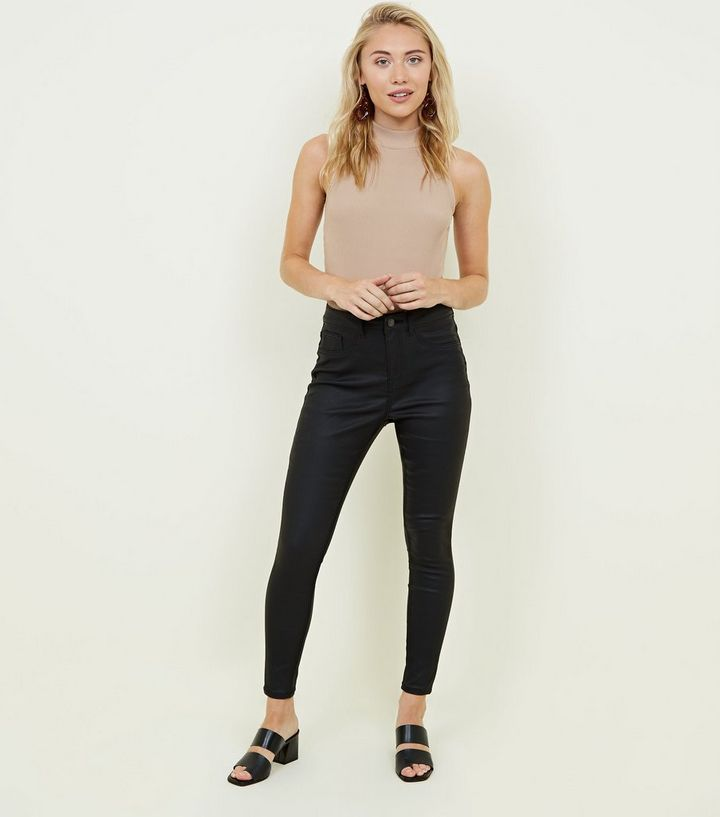 brand new get cheap outlet online Petite Black Leather-Look High Waist Hallie Jeans Add to Saved Items Remove  from Saved Items