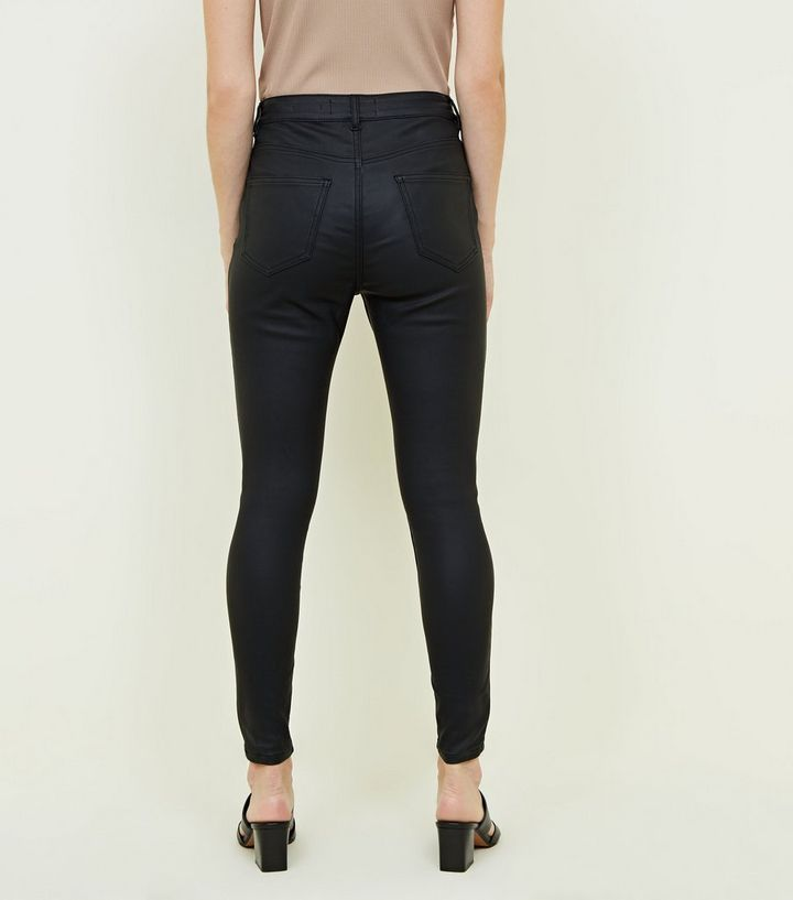 100% original outlet on sale professional Petite Black Leather-Look High Waist Hallie Jeans Add to Saved Items Remove  from Saved Items