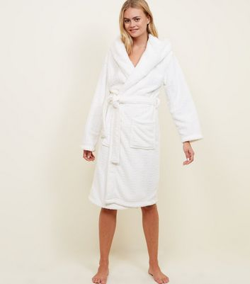 Off White Fluffy Hooded Dressing Gown New Look