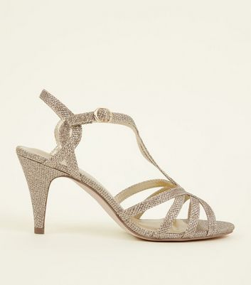 Wide Fit Gold T- Bar Strappy Sandals