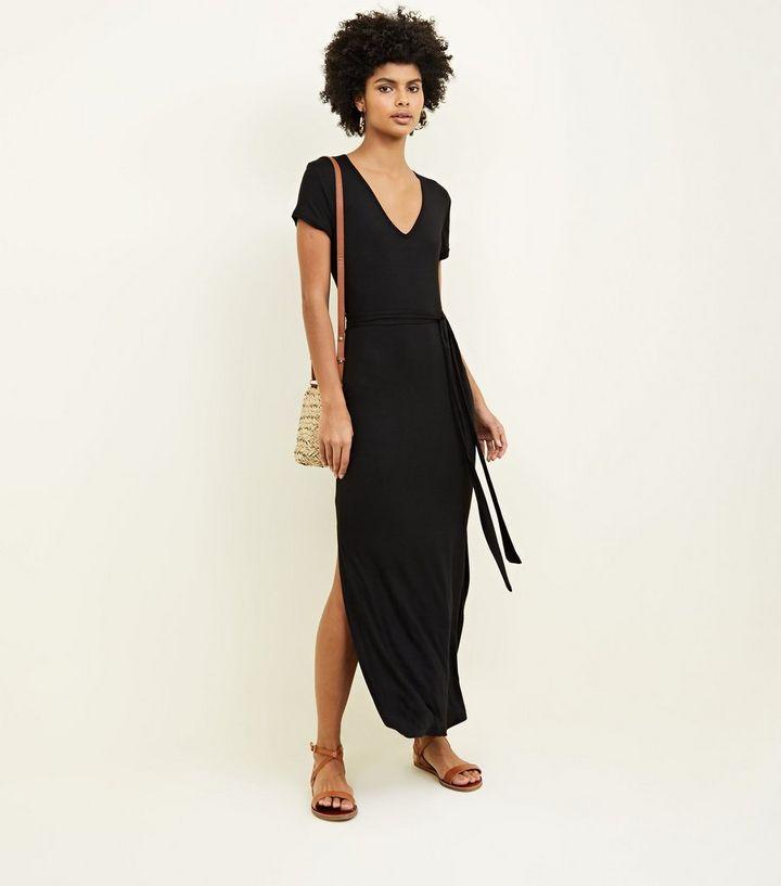 09f02f144a97 Black V-Neck Jersey Maxi Dress   New Look