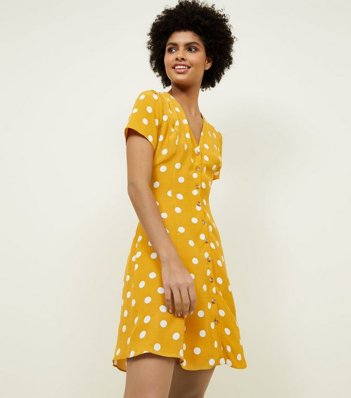 e8cb43a086a69 Yellow Polka Dot Tea Dress   New Look