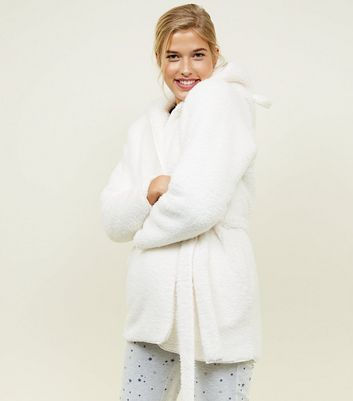 Cream Teddy Faux Fur Hooded Ears Dressing Gown
