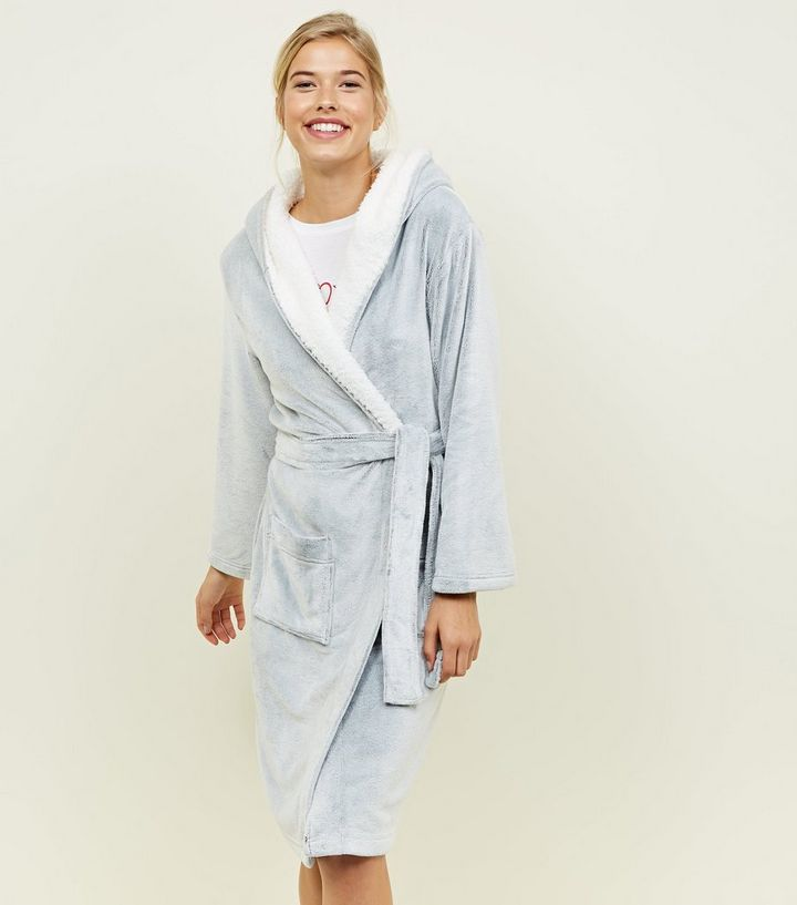 ab9c99b6aa Pale Grey Hooded Borg Trim Dressing Gown Add to Saved Items Remove from  Saved Items