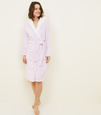 Pink Hooded Borg Trim Dressing Gown