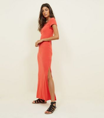 Red Ribbed Jersey Maxi Dress