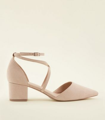 Wide Fit Nude Suedette Strappy Courts New Look