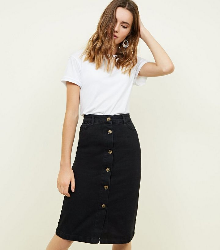 55c4e3917955a Black Denim Button Up Midi Skirt