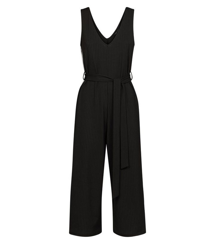 f53cb824e35b Black Side Stripe Ribbed Jersey Jumpsuit