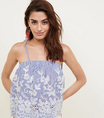 Blue Stripe Embroidered Cut Out Cami