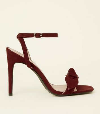Dark Red Suedette Bow Strap Square Toe Stilettos