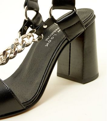 Black Premium Leather Chain Strap Heels New Look
