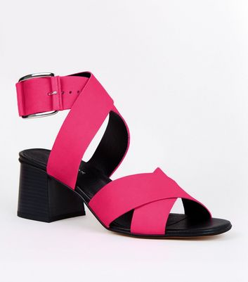 Pink Premium Neon Leather Cross Strap Sandals