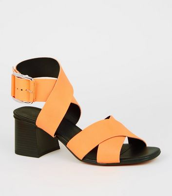 Orange Premium Neon Leather Cross Strap Sandals
