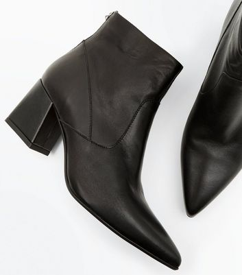 Black Premium Leather Pointed Ankle