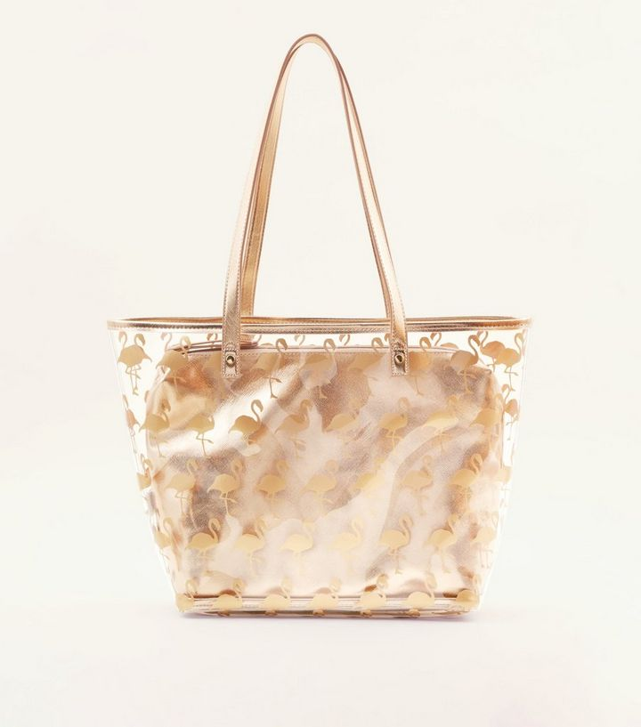 9c9a82c0de5 Rose Gold and Clear Flamingo Print Tote Bag Add to Saved Items Remove from  Saved Items