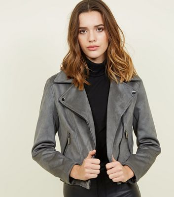 Dark Grey Suedette Biker Jacket