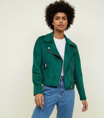 Green Suedette Biker Jacket
