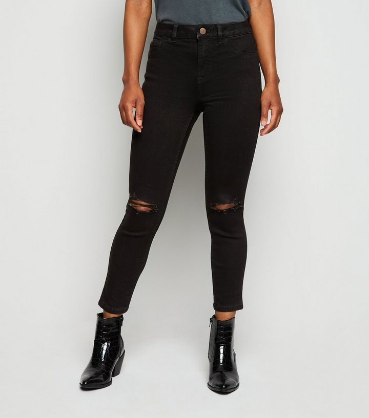 time table leather storage  Petite Short Leg Black Ripped Jenna Skinny Jeans | New Look