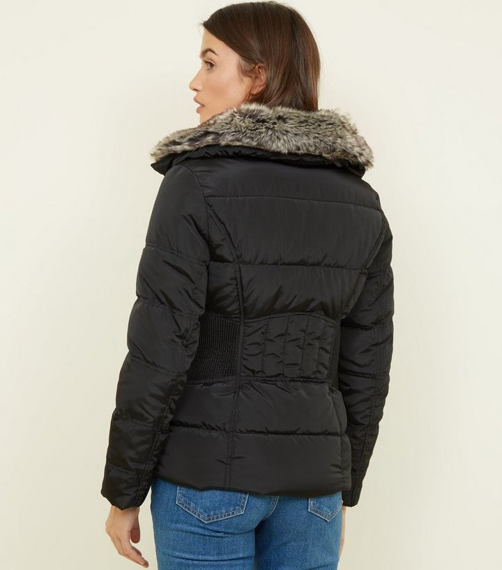 68b4318a6 Black Faux-Fur Collar Cinched Waist Puffer Jacket Add to Saved Items Remove  from Saved Items