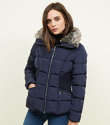 Navy Faux-Fur Collar Cinched Waist Puffer Jacket