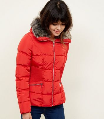 Red Faux-Fur Collar Cinched Waist Puffer Jacket