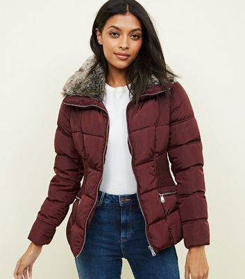 Burgundy Faux-Fur Collar Cinched Waist Puffer Jacket