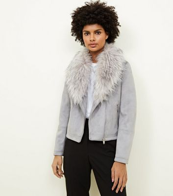 Pale Grey Suedette Faux Fur Collar Jacket