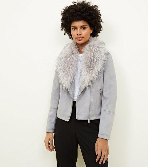 51d4e85adbd2 ... Pale Grey Suedette Faux Fur Collar Jacket ...