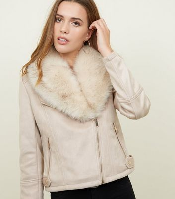 Stone Suedette Faux Fur Collar Jacket