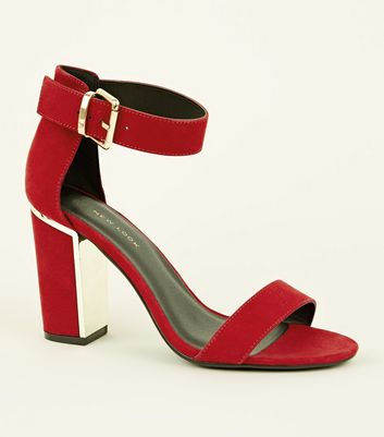 Wide Fit Red Suedette Metal Trim Block Heels