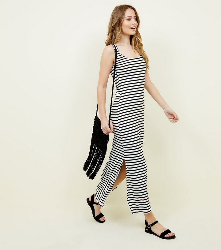 1b48bcd33a White Stripe Ribbed Maxi Dress | New Look