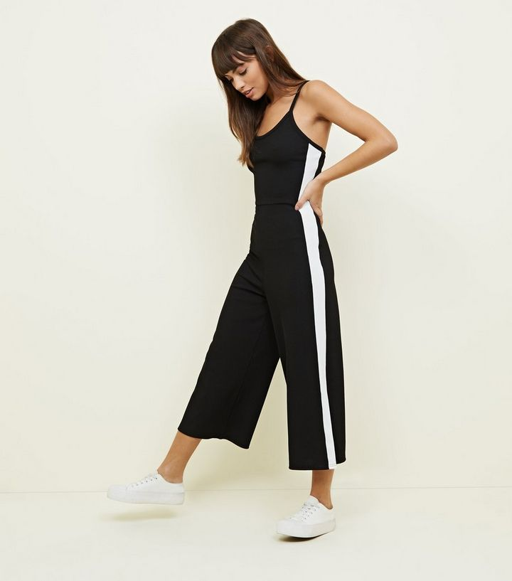 1613346a28de Black Ribbed Side Stripe Jumpsuit
