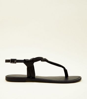 Black Knotted Leather Flat Sandals