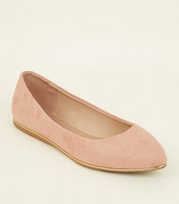 Wide Fit Nude Suedette Piped Edge Ballet Pumps