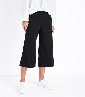 Cameo Rose Black Crepe Culottes New Look