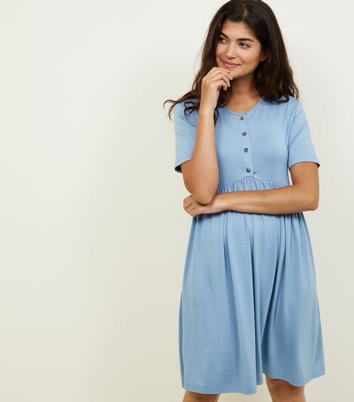 c2c915cc53680 Maternity Blue Button Front Nursing Smock Dress | New Look
