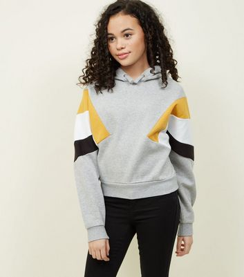 Girls Light Grey Colour Block Sleeve Hoodie