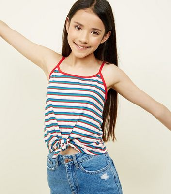 Girls Rainbow Stripe Knot Front Cami
