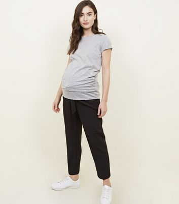 Maternity Black Tie Waist Trousers