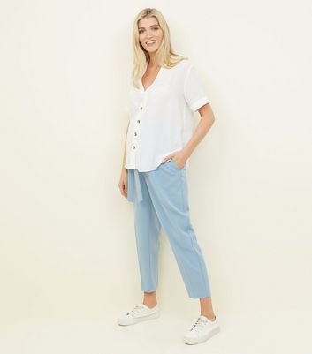 Maternity Blue Tie Waist Trousers