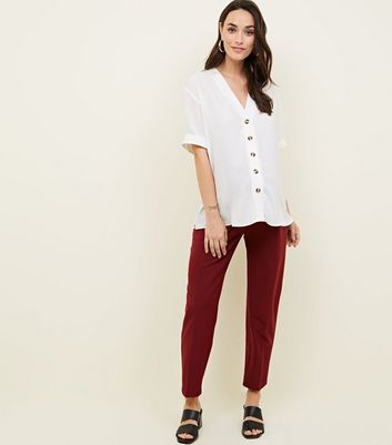 Maternity Burgundy Tie Waist Trousers