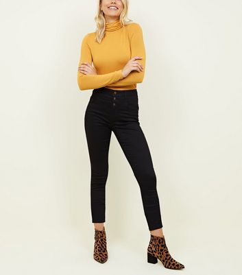Tall Black High Waist 3 Button Skinny Jeans by New Look