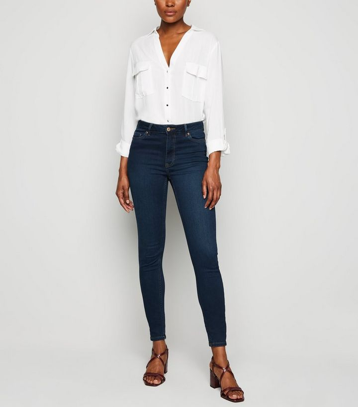 ad3ea683897e6 Tall Blue Rinse Wash High Waist Super Skinny Jeans