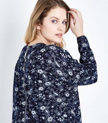 blue vanilla curves navy floral zip back top new look